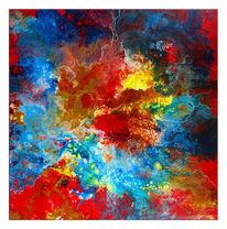 Malerei, Rot blau gelb, Malen, Moderne kunst