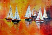 Malerei, Acrylmalerei, Sonnenuntergang, Gemälde