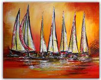 Segelboot, Segelboote bunt, Gemalte segelboote, Wandbild