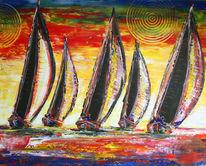 Modern, Acrylmalerei, Boote handgemalt, Rot