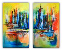 Gelb, Gold, Abstrakte kunst, Gemälde