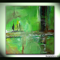 Acrylmalerei, Abstrakt, Bunt, Grün