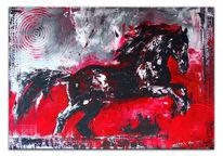 Malerei, Abstrakte kunst, Grau, Pferdemalerei