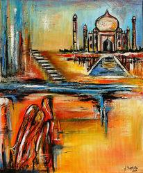 Malen, Acrylmalerei, Taj mahal, Gelb