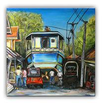 Rot, Auto, Acrylmalerei, Blau