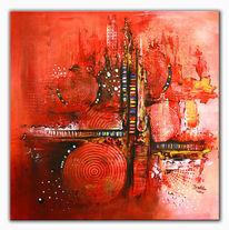 Rot, Unterirdisch, Abstrakte kunst, Acrylbilder abstrakt