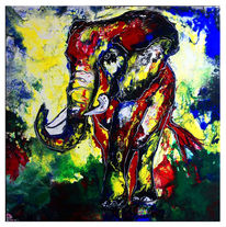 Wandbild, Pouring, Elefant, Malen