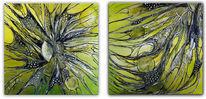 Abstraktes gemälde, Gelb, Wandbild, Auftragsmalerei