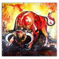 Tiere, Rot, Stier, Fluid painting