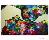 Malen, Mann frau, Abstrakt, Acrylmalerei