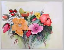 Blumenstrauß, Blumen, Blüte, Aquarellmalerei