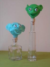 Köppe, Flasche, Bunt, Kunsthandwerk