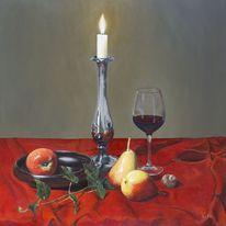 Früchte, Faltenwurf, Ölmalerei, Weinglas