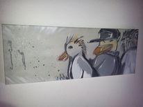 Grau, Vogel, Ente, Frech