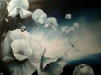 Malerei, Mohn, Ölmalerei, Weiß