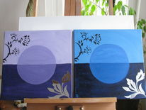 Blumen, Dunkel, Blau, Lila