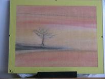 Einsamkeit, Baum, Horizont, Malerei