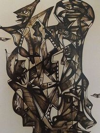Zeichnung, Ausdruck, Befindlichkeiten, Mischtechnik