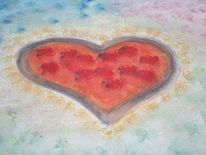Aquarellmalerei, Herz, Liebe, Malerei