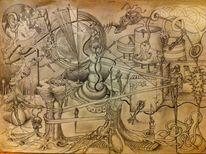 Bleistiftzeichnung, Zeichenkarton, Surreal, Zeichnungen