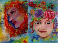 Malerei, Portrait, Impressionismus, Aquarell