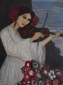 Blumen, Vollmond, Augen, Geige