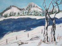 Baum, Wasser, Winter, Landschaft