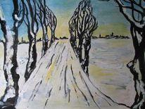 Baum, Ortschaft, Spuren, Schnee