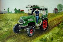 Traktorfahren, Malerei