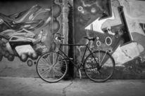 Roh, Graffiti, Fahrrad, Mauer