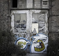 Mauer, Roh, Fabrik, Tür
