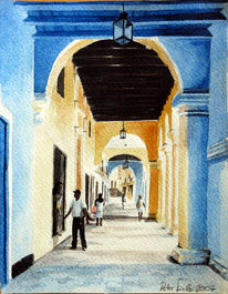 Kolonialismus, Kuba, Aquarellmalerei, Architektur