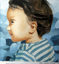 Kinder, Kleinkind, Aquarellmalerei, Blau