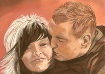 Liebe, Mädchen, Malerei, Pastellmalerei