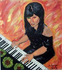 Malerei, Menschen, Frau, Klavier