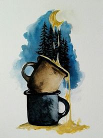 Mond, Aquarellmalerei, Blau, Tasse