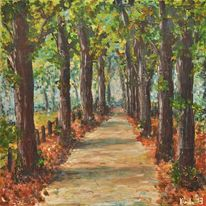 Malerei, Gehweg, Baum, Spazieren gehen