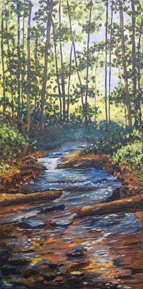 Fluss, Acrylmalerei, Wald, Bach