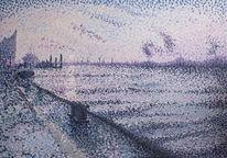 Sonnenaufgang, Hamburg, Impressionismus, Pastellmalerei