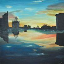 Pfütze, Hafen, Spiegel, Acrylmalerei