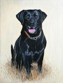 Labrador, Schwarz, Acrylmalerei, Tiere