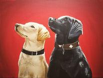 Beige, Acrylmalerei, Hundeportrait, Hund
