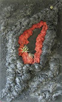 Lava, Vulkan, Blumen, Malerei