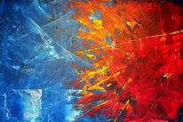 Spachteltechnik, Sonne, Abstrakt, Malerei