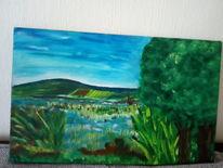 Ausdruck, Landschaft, Acrylmalerei, Malerei
