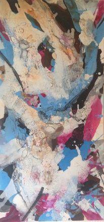 Abstrakt, Marmormehl, Magenta, Acrylmalerei