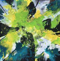 Expressionismus, Blau, Acrylschüttungen, Gelb