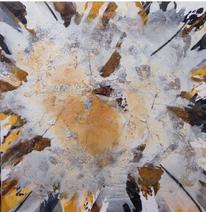 Zeitgenössische kunst, Acrylmalerei, Ocker, Braun