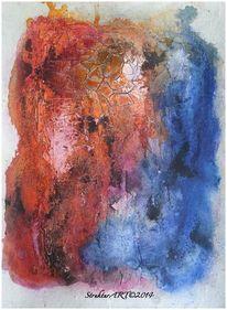 Zeitgenössische kunst, Pigmente, Blau, Beize