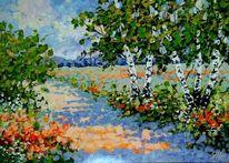 Birken, Feldweg, Sommer, Malerei